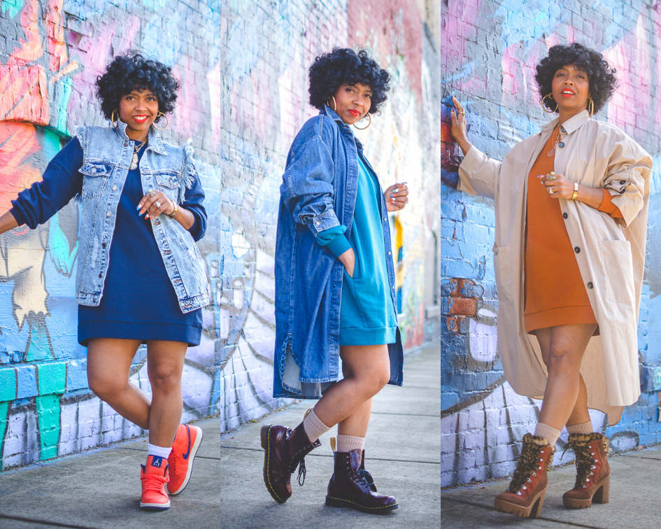 SWEENEE STYLE, HOW TO WEAR A SWEATSHIRT DRESS, SPRING OUTFIT IDEA, INDIANAPOLIS FASHION BLOG, BLACK GIRLS WHO BLOG, EASY OUTFIT IDEAS