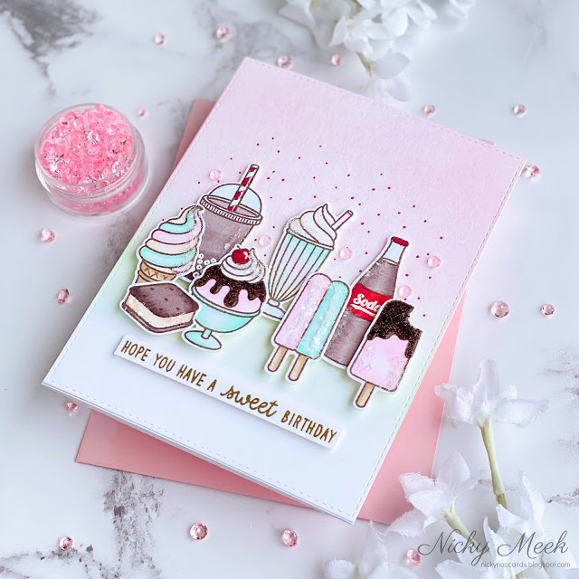 Sunny Studio Stamps: Summer Sweets Birthday Card by Nicky Meeks