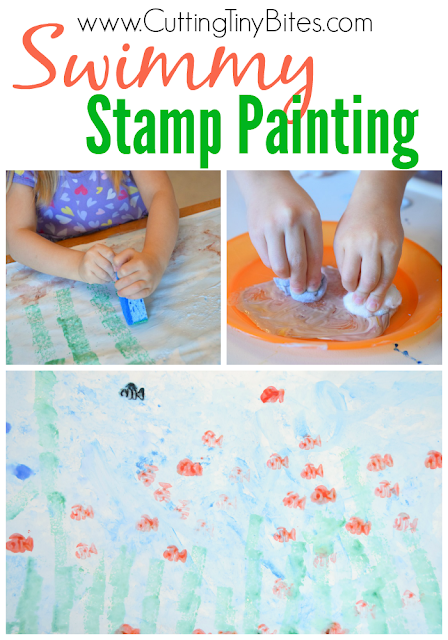 Stamp painting project to go along with the Leo Lionni book, Swimmy.  Dreamy ocean colors, cheerful fish, and a variety of things to stamp with make this a beautiful process art project for preschoolers, kindergartners, and elementary children.