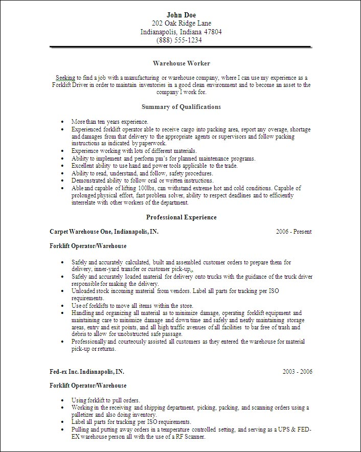 Warehouse Worker Objective Resume And Cover Letters Warehouse Worker Objective  Resume And Cover Letters Resume Template  Resume Objective For Warehouse