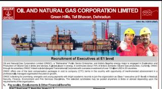 ONGC Recruitment 107 Executive