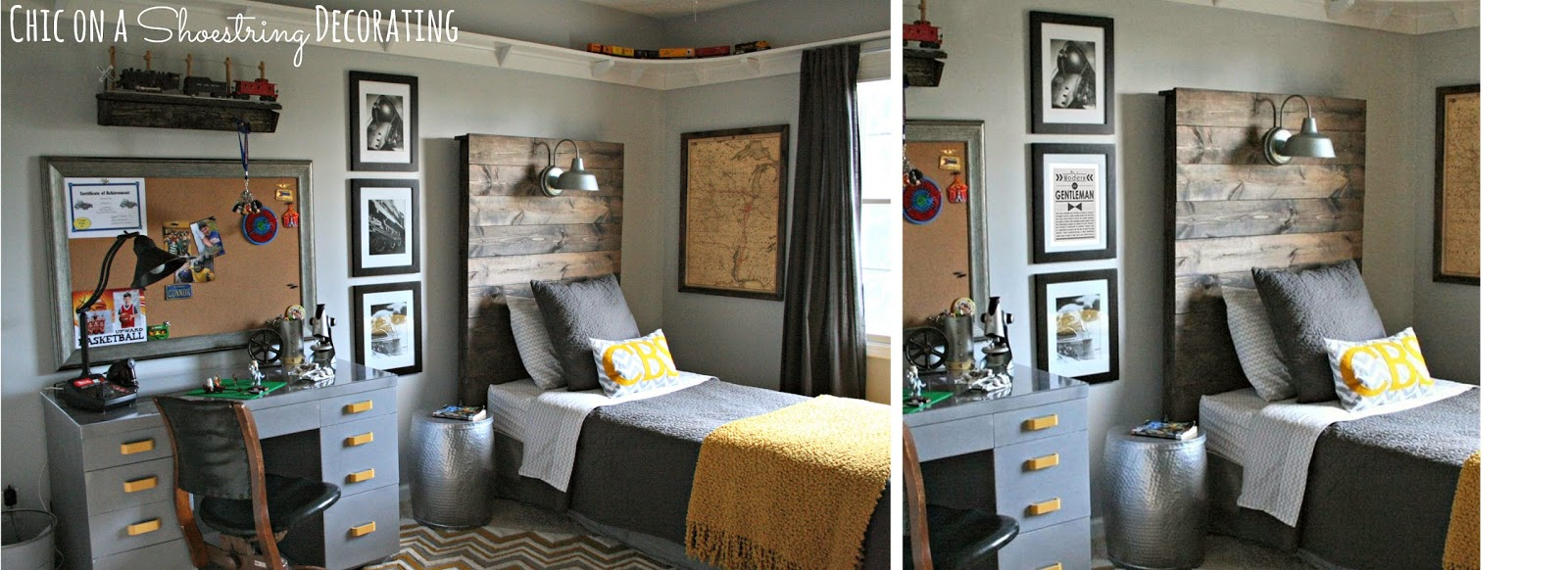How to Make a Rustic Headboard with a Light Fixture by Chic on a Shoestring Decorating
