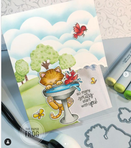 So many smiles start with you by Rebecca features Newton's Birdbath and Clouds by Newton's Nook Designs; #newtonsnook