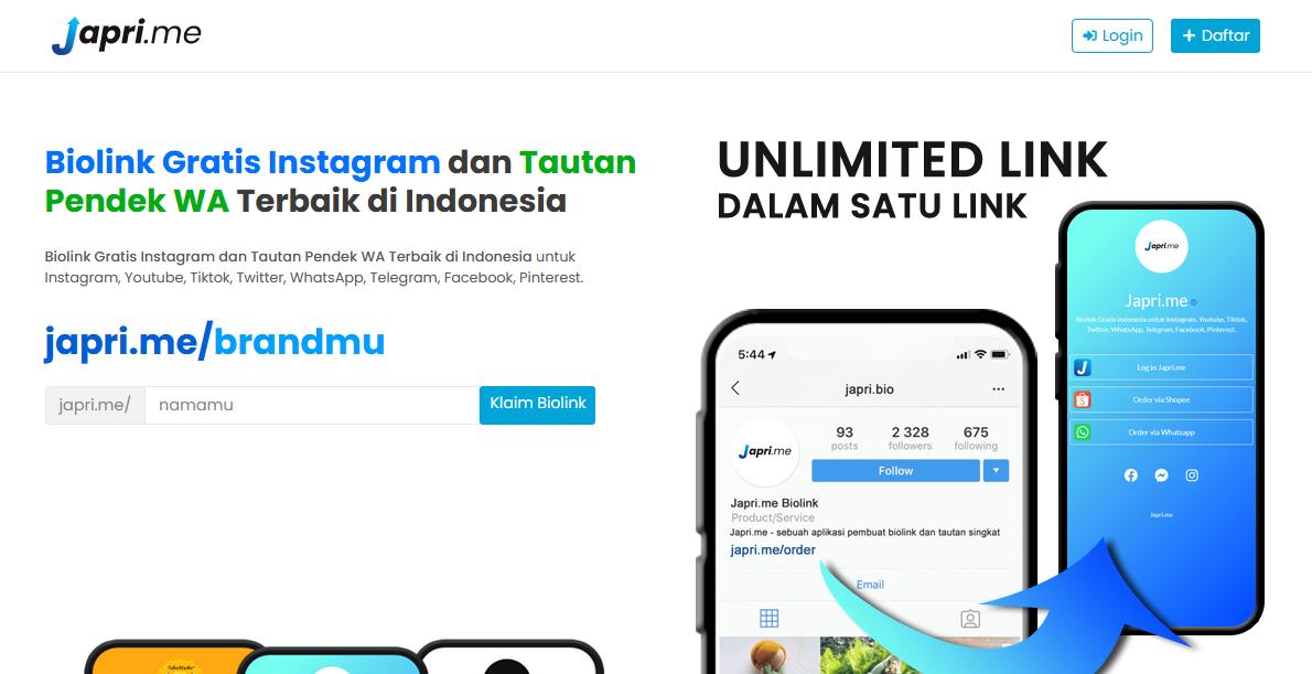 Cara Buat Biolink Gratis Untuk Instagram di Japri.me Biolink Terbaik Indonesia