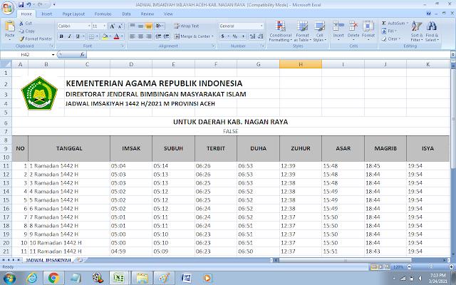 Jadwal Imsakiyah Ramadhan 1442 H Kabupaten Nagan Raya, Provinsi Aceh