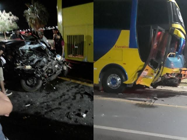 Acidente entre carro e ônibus deixa três gravemente feridos no Piauí