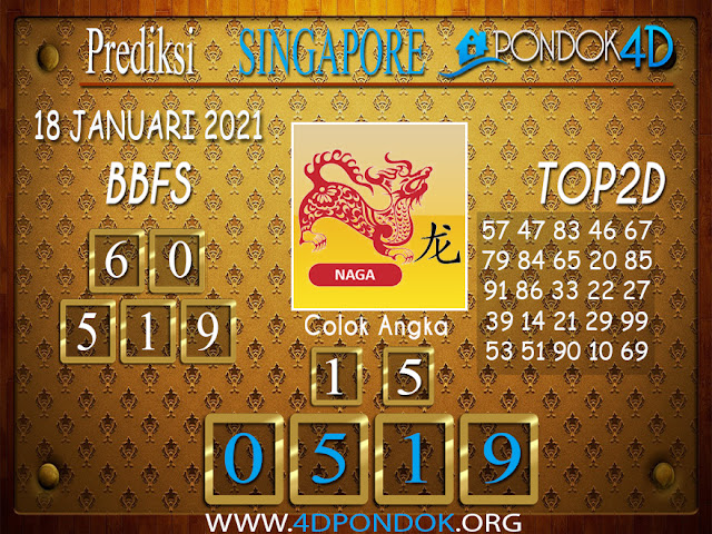 Prediksi Togel SINGAPORE PONDOK4D 18 JANUARI 2021