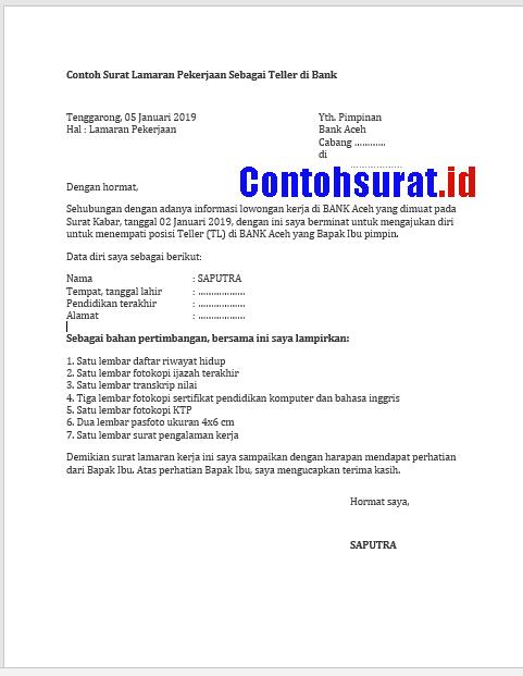 Surat Lamaran Kerja di Bank BNI, Bank Aceh, Bank BRI, Bank Mandiri