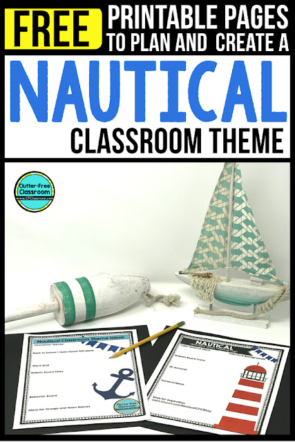 NAUTICAL Theme Classroom: If you're an elementary teacher who is thinking about a lighthouse, anchor, navy, sailing, preppy or nautical theme then this classroom decor blog post is for you. It'll make decorating for back to school fun and easy. It's full of photos, tips, ideas, and free printables to plan and organize how you will set up your classroom and decorate your bulletin boards for the first day of school and beyond.