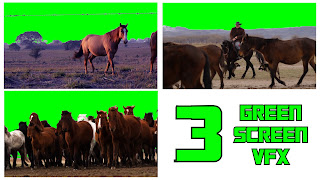 Three free videos of horses &/or ranchers set against green screen backgrounds.