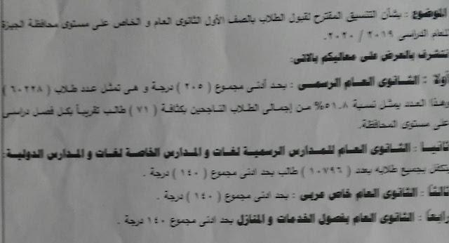 درجة القبول للثانوى العام الرسمي