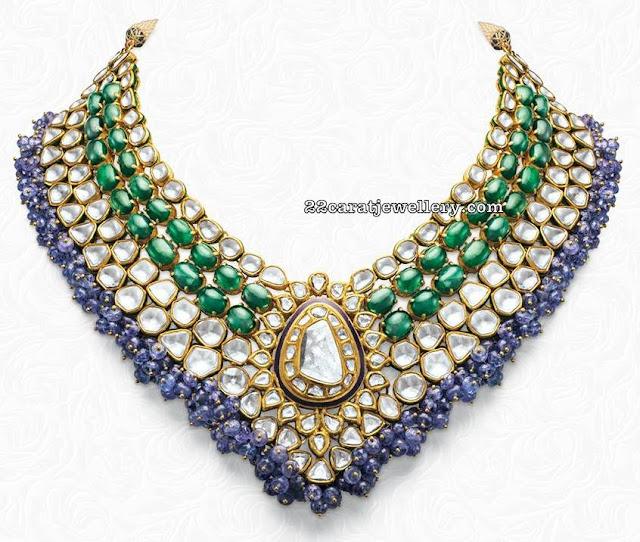 Emerald Polki Choker with Blue Sapphires