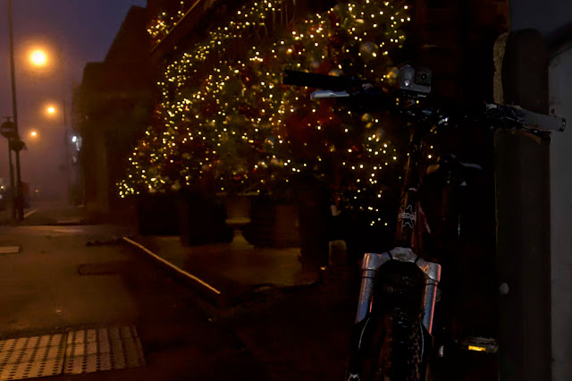 bike christmas lights at the green