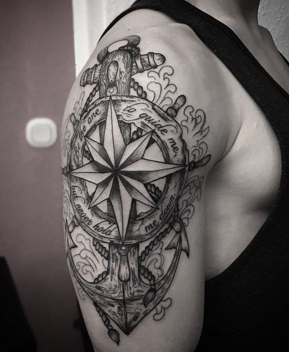 Compass + Anchor Tattoo on Shoulder