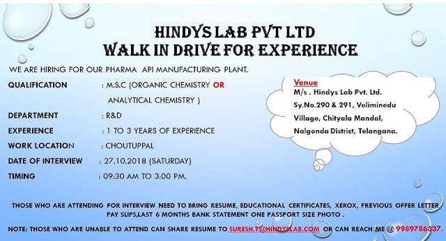 HINDYS LAB PVT. LTD - Walk-In Drive on 27th October  R&D