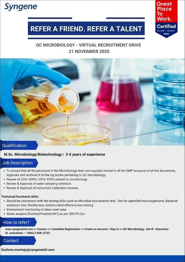 Syngene International | Virtual Recruitment Drive for QC-Microbiology on 21st Nov' 2020