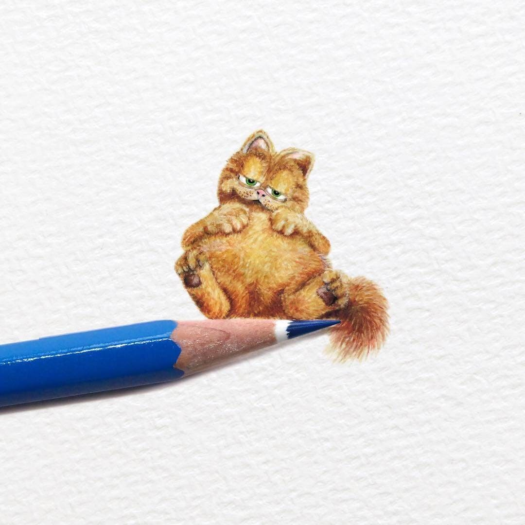 13-Garfield-created-by-Jim-Davis-Frank-Holzenburg-Animals-and-Fantasy-Creatures-Tiny-Paintings-www-designstack-co