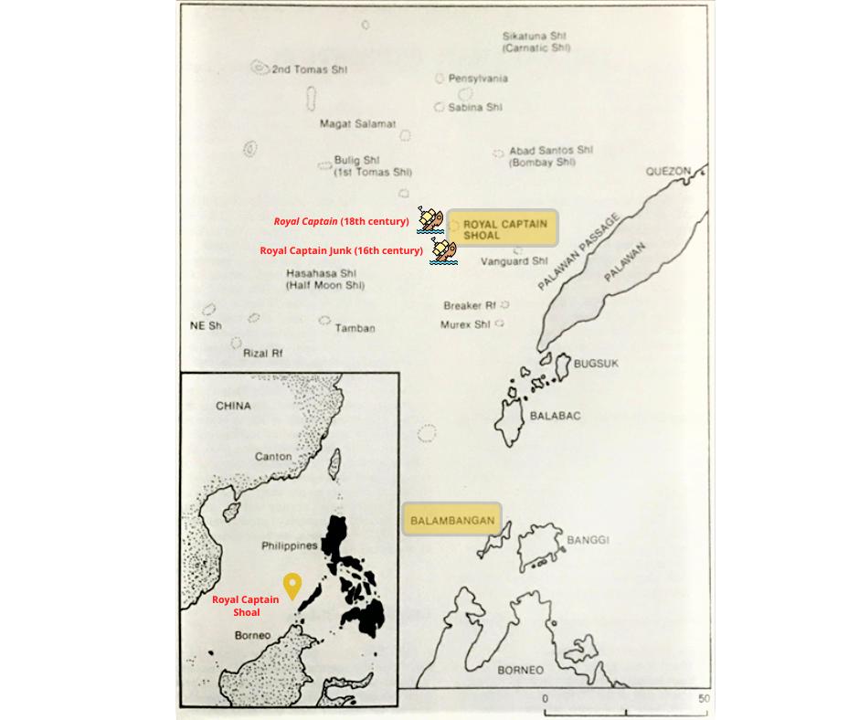 Kanduli Shoal Shipwreck Royal Captain Shoal near Palawan Island Philippines [Archeology]