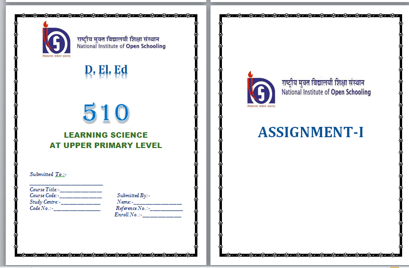 NIOS Assignment Front Page docx download