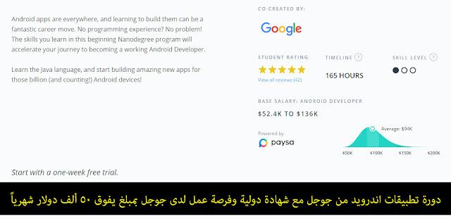 دورة تطبيقات اندرويد من جوجل مع شهادة دولية وفرصة عمل لدى جوجل بمبلغ يفوق 50 ألف دولار شهرياً