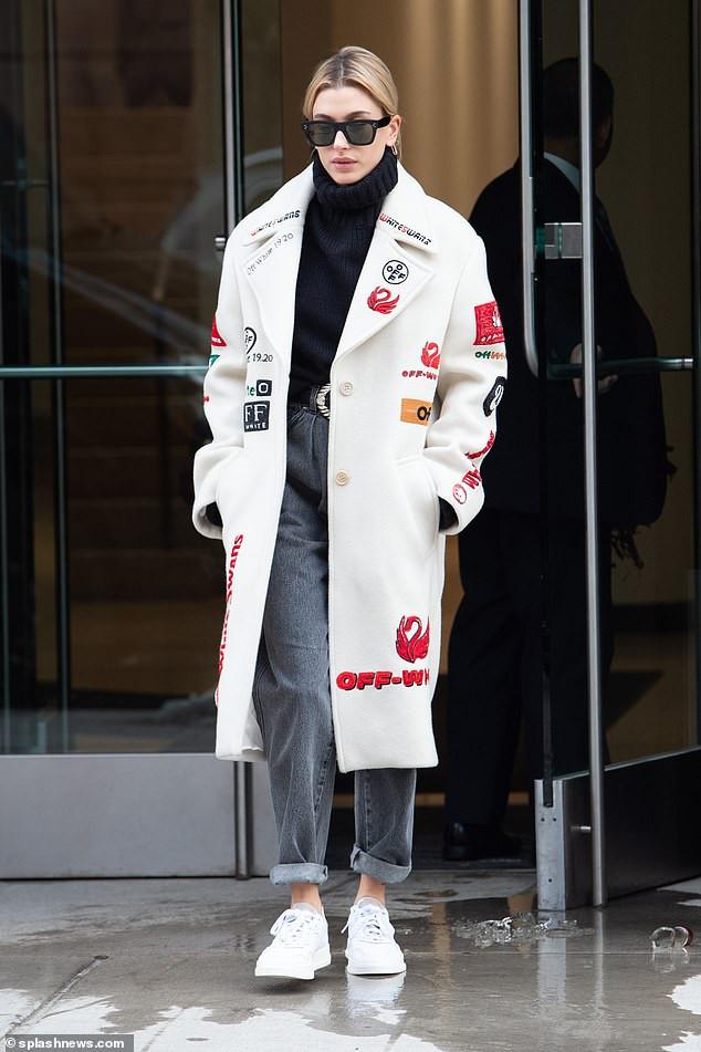 Hailey Bieber Wearing a white coat
