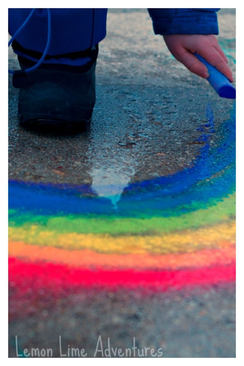 sidewalk chalk puddles idea