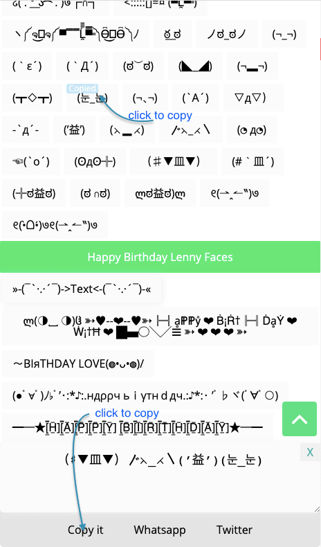 How to Copy ( ͡ ͡° ͜つ ͡͡° ) Lenny Faces / Text Faces Online?
