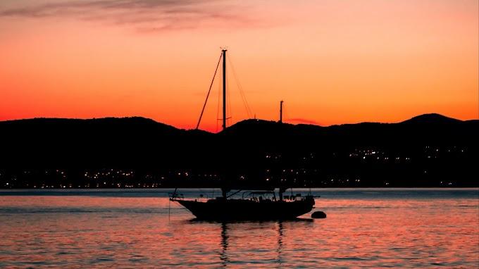Rio, Barco a Vela, Pôr do Sol, Montanhas