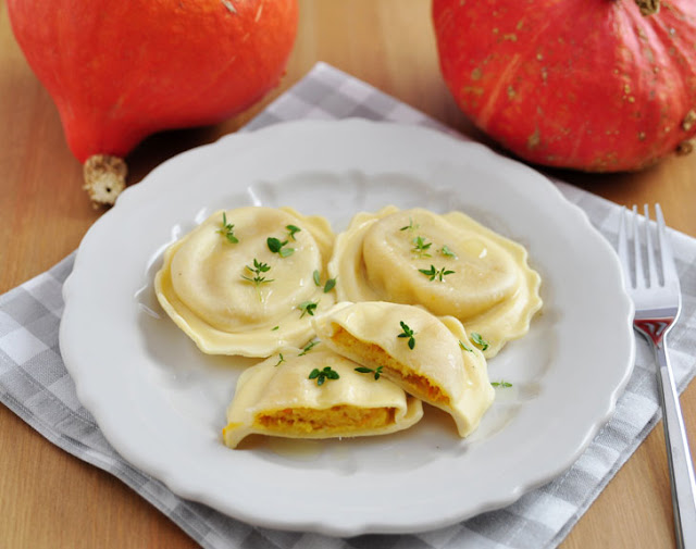 Pumpkin ravioli, in Italian 'Cappellacci', are the typical dish of Ferrara, a city in Emilia Romagna.
