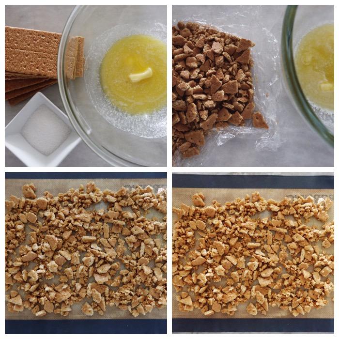putting together the graham cracker streusel