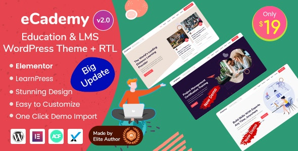 eCademy - Education & LMS WordPress Theme Free Download, Nulled