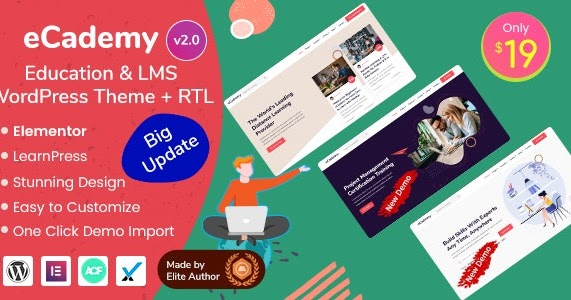 321 Free Ecademy Education Lms Wordpress Theme Free Download Nulled