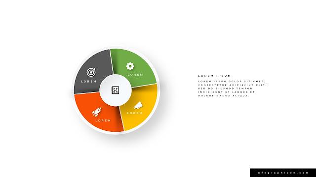 Pie Chart Shape Circular Four Banner Options Slide Type B
