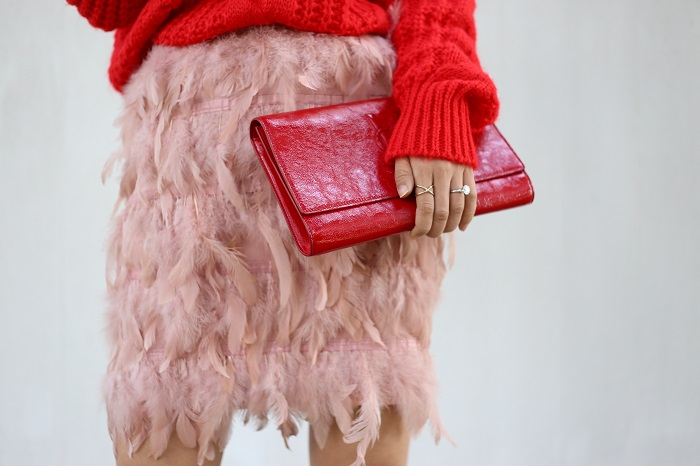 Shein Red High Neck Cable Knit Sweater, missguided feather mini skirt, schutz amatista platform shoes, saint laurent clutch, kendra scott earrings, prada sunglasses, fashion blog, holiday outfit, holiday look, kendra scott earrings, kendra scott mirror mirror collection
