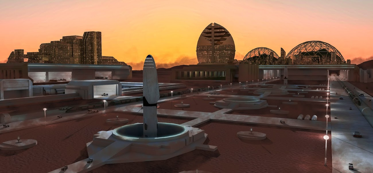 SpaceX Starship at Mars city (Mars Base Alpha) by Casey Alexander