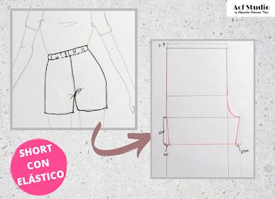 Ilustración de cómo quedaría el pantalón una vez acabado y el patrón