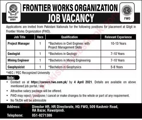 New Jobs in Pakistan Frontier Works Organization Gilgit Jobs 2021 | Apply Online