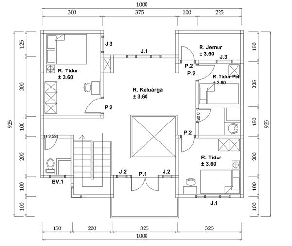 Denah  terbaik Rumah Minimalis 2 Lantai Ukuran 10X15 Inspiratif