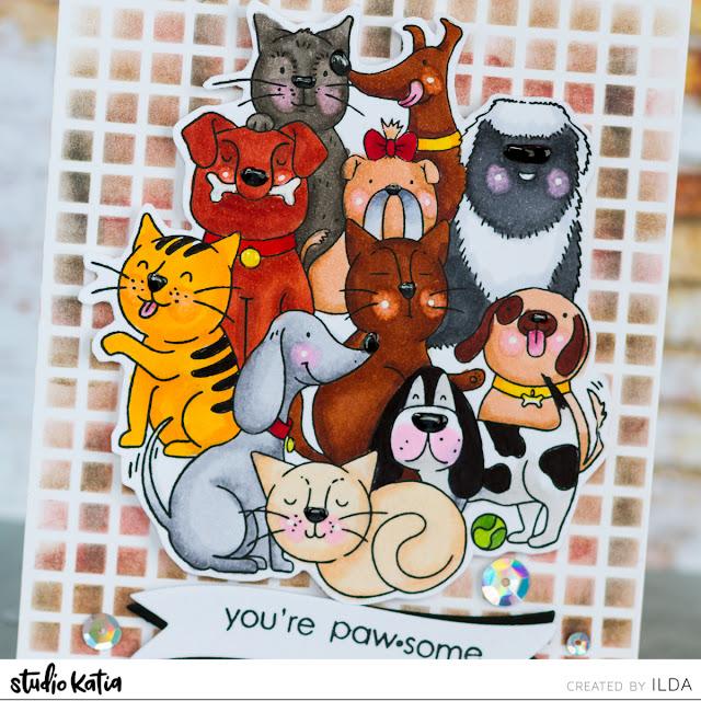 Pawsome Friendship Card for Studio Katia by ilovedoingallthingscrafty.com