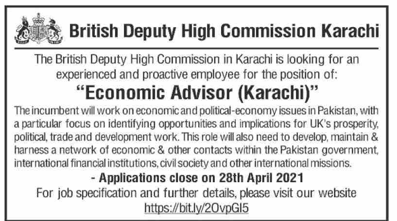 British Deputy High Commission Karachi Jobs 2021 in Pakistan