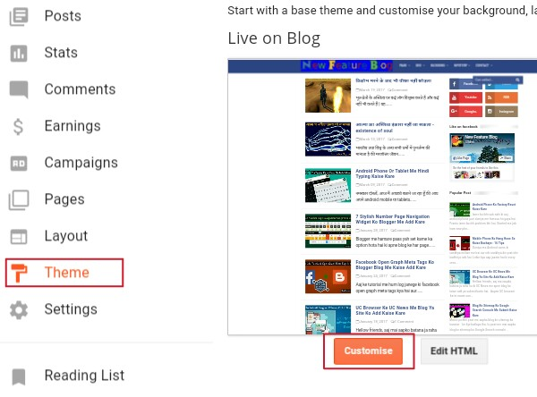 click on theme and then customise