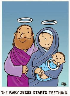 The baby Jesus starts teething cartoon picture