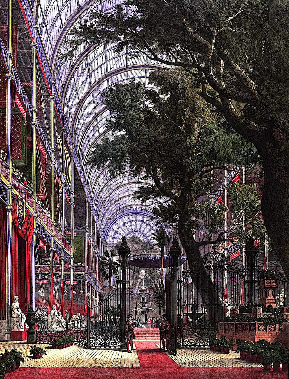 interior trees at the Crystal Palace at the 1851 Great Exhibition of London
