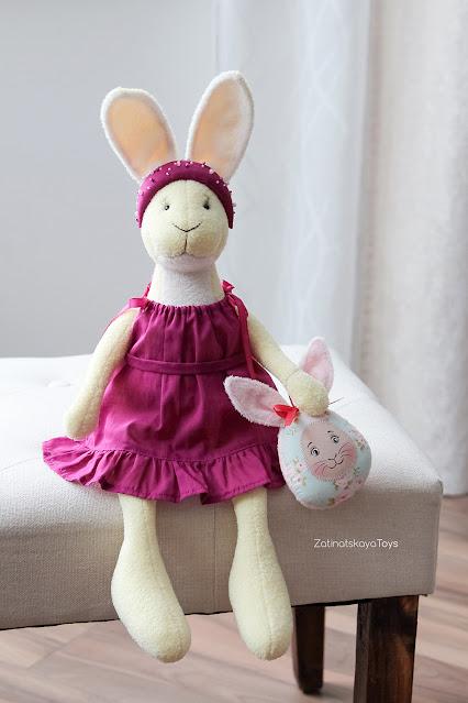 Bunny plush pattern for aesthetic Easter decor