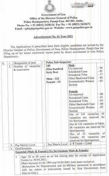 Goa Police Constable Recruitment 2021 Apply Offline