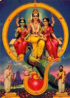 Hindu God Muruga or Karthikeya with Valli, Devayani and his mound peacock inside Om