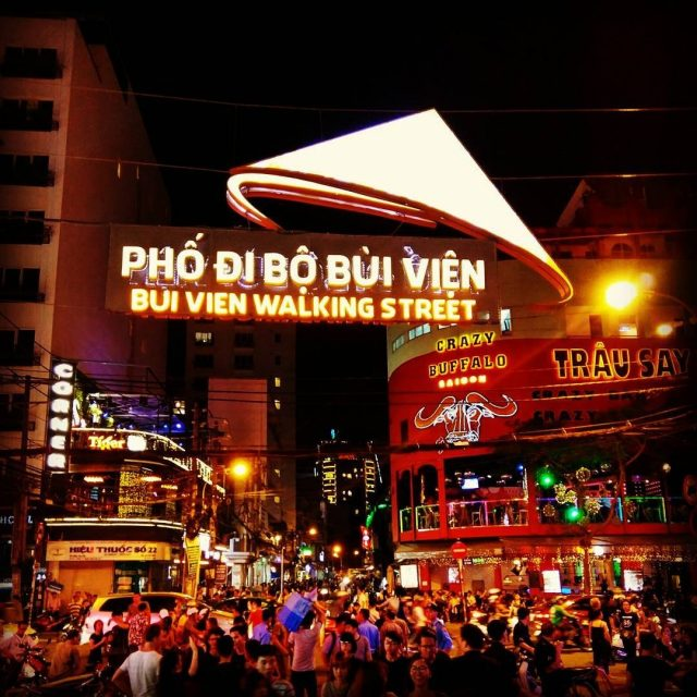 The bustling scene of Bui Vien walking street