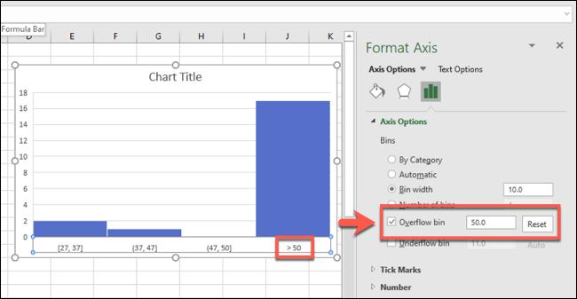 تم تمكين الرسم البياني لـ Excel مع رقم حاوية تجاوز السعة