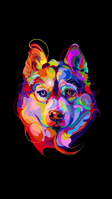 black backgroun amoled wallpaper in 1080p with a colorful art of a dog