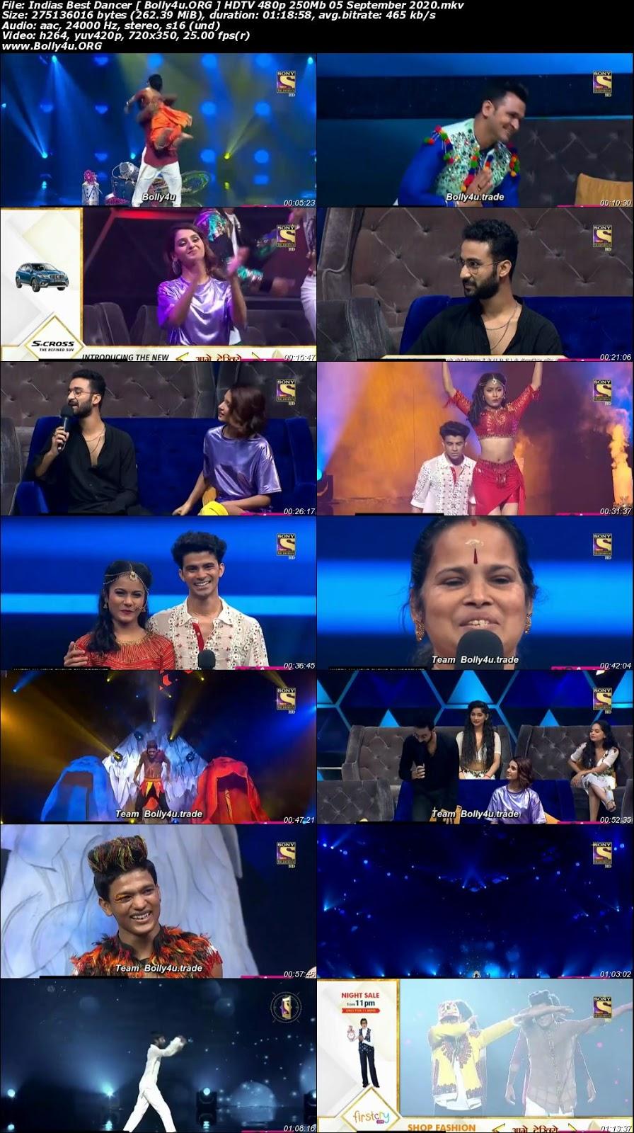 Indias Best Dancer HDTV 480p 250Mb 05 September 2020 Download